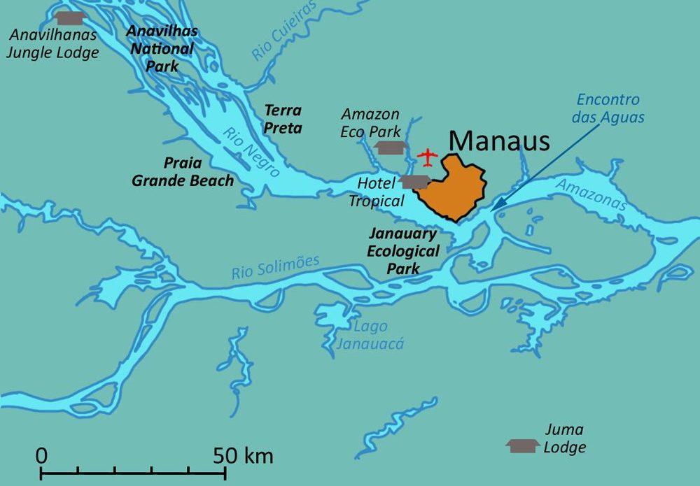 carte Amazonie Manaus et lodges