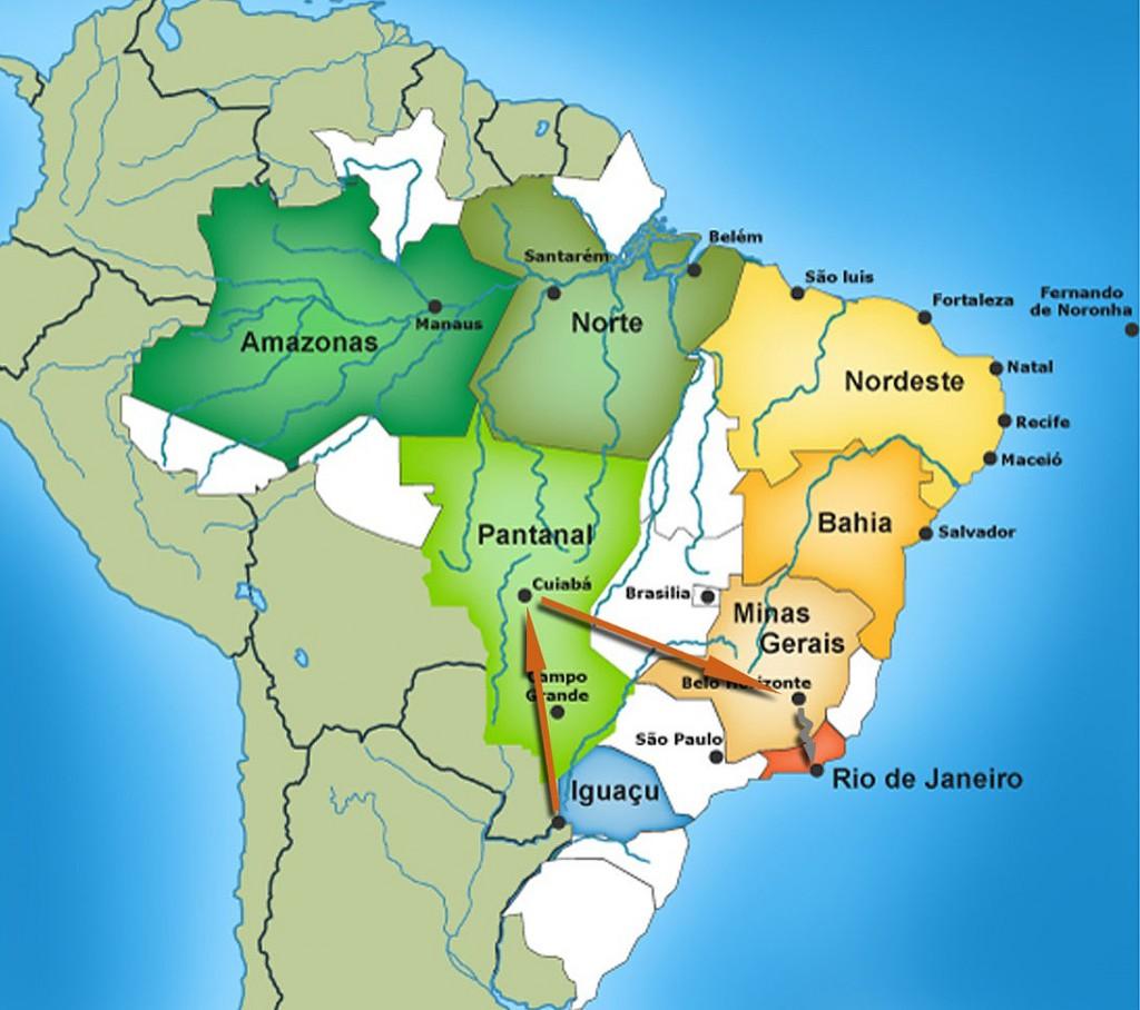 carte circuit sud du Brésil