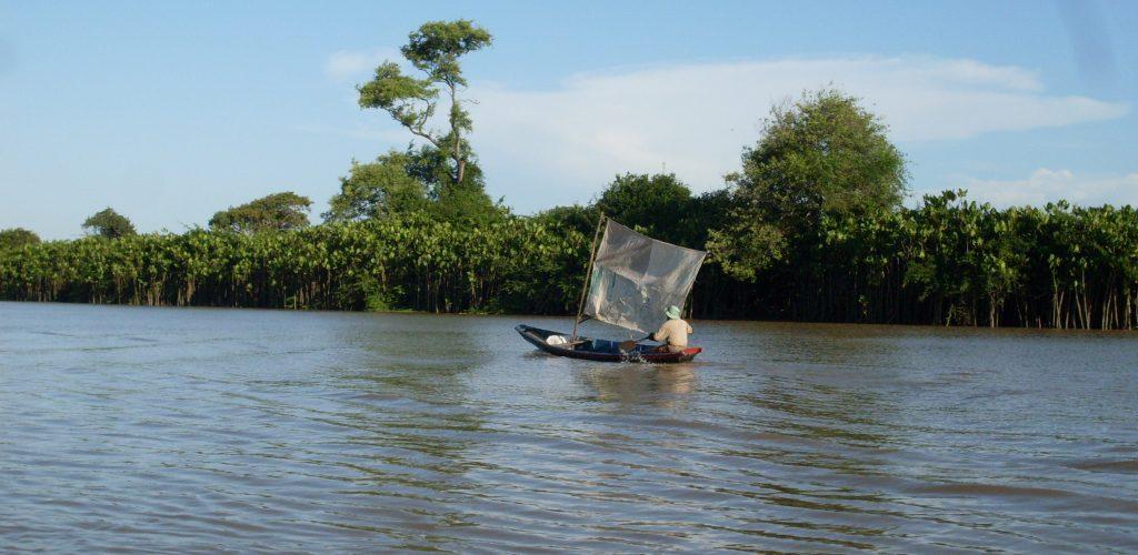 Delta Parnaiba pécheur le long de la mangrove
