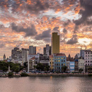 le vieux Recife au  coucher du soleil