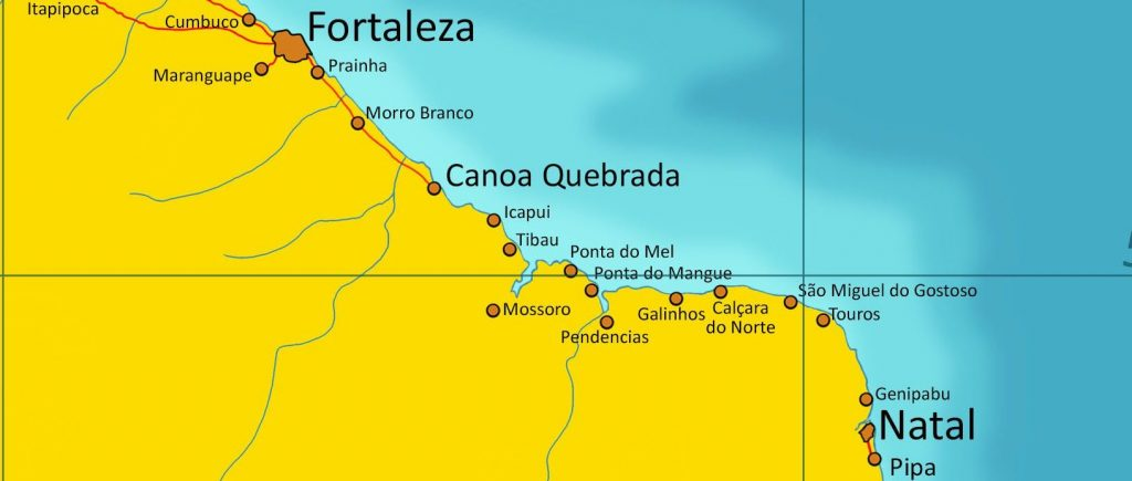 carte de Fortaleza à Natal