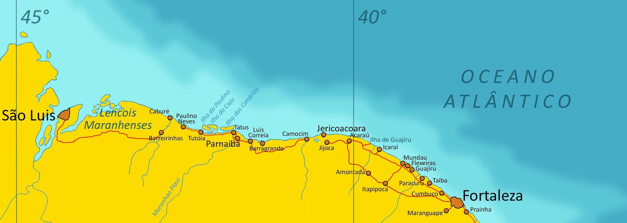 Carte Du Bresil Nordeste.Circuit Fortaleza Sao Luis Le Circuit Plages De Reves