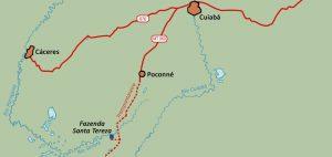 Carte nord Pantanal Cuiaba Caceres Poconné