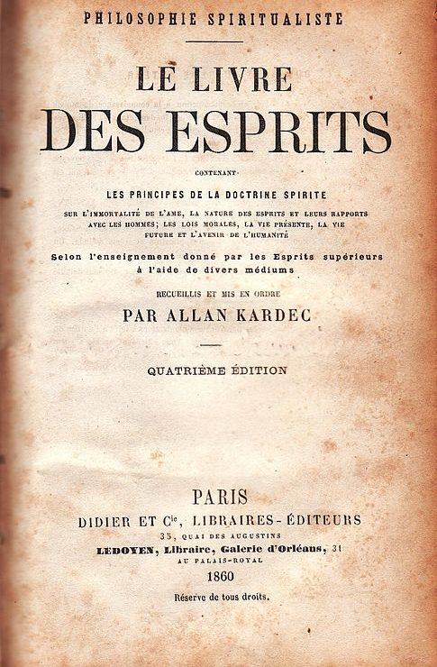 couverture du livre des esprit d'Alan Kardec