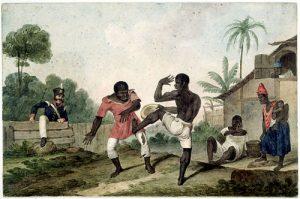 Représentation esclaves dansant la capoeira